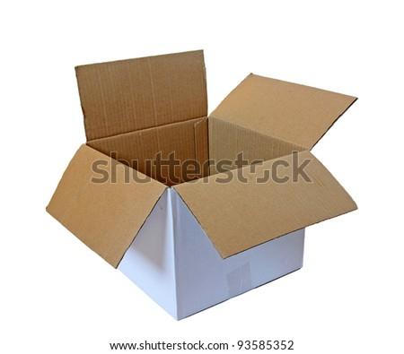 open cardboard box isolated