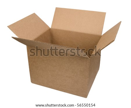 Open cardboard box on white background