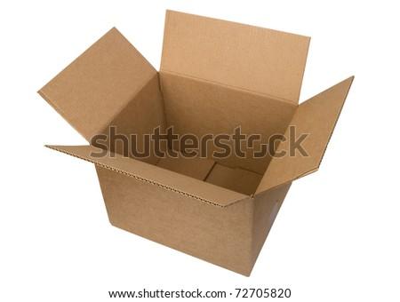 Open cardboard box on white background - stock photo