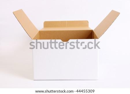 Open cardboard box on white background. Empty image