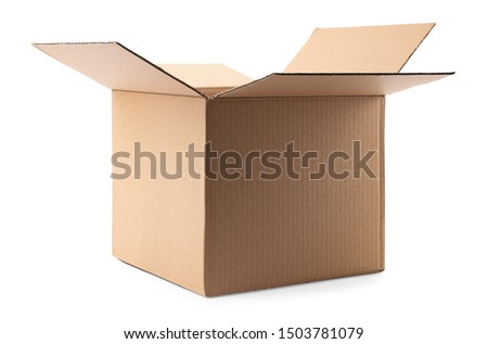 Open cardboard box on white background. Mockup for design