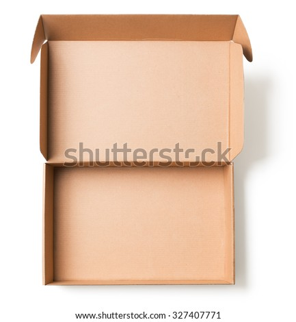 Open cardboard box top view isolated  #327407771