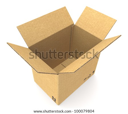 Open Cardboard Box. Top view of an Open Cardboard Box. Cardboard texture. Floor shadow.