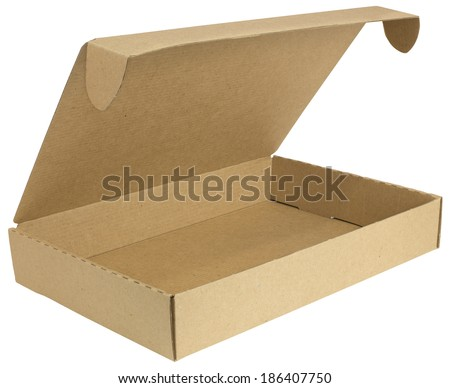 Open cardboard box with a lid. Isolated on white background