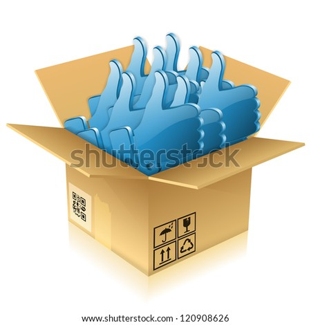 Open Cardboard Box with Like icons, isolated on white, illustration