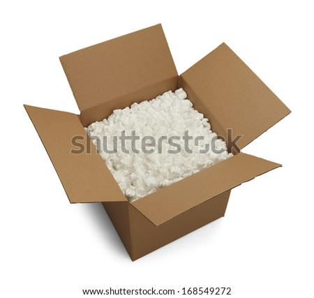 Open Cardboard Box with Packing Peanuts Isolated on White Background.