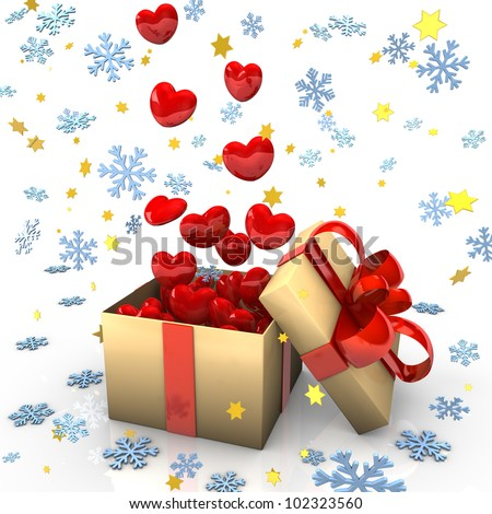 Open cardboard box with red hearts, snowflakes and golden stars.