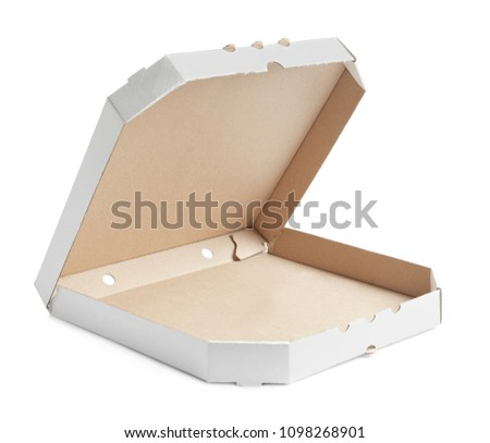 Open Cardboard Pizza Box On White Background 1098268901