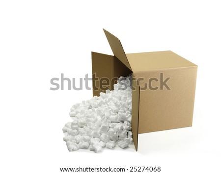Open Cardboard Shipping Box with Styrofoam peanuts
