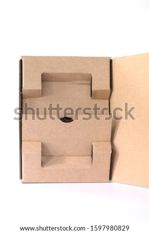 Open carton packaging template on white background. Gift box brown paper from Industrial Packaging carton