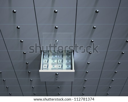 Open cell with money in safety deposit box