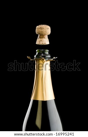 Open champagne bottle with floating cork