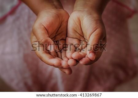 open children hand begging for Help