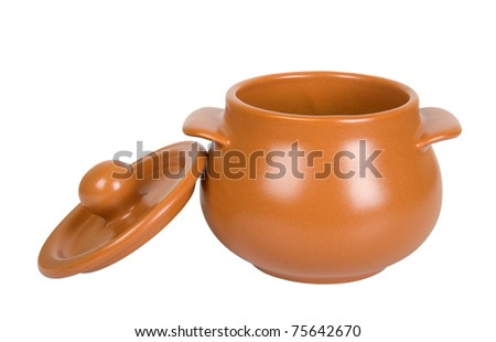 Open clay pot isolated on white background