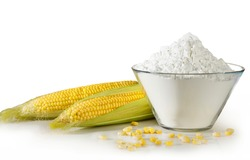 Open cob of fresh ripe corn on a white background with snow-white corn starch