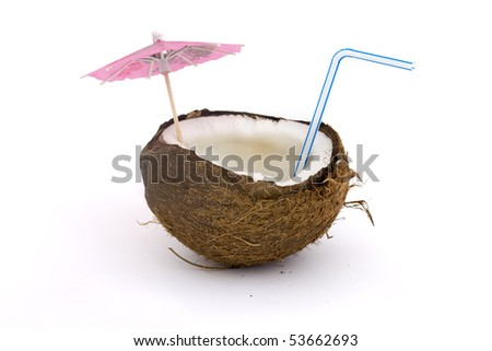 open coconut with straw and umbrella over white