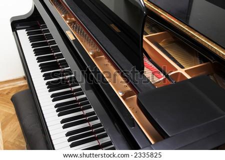 Open concert piano. Classic music and fine art concept