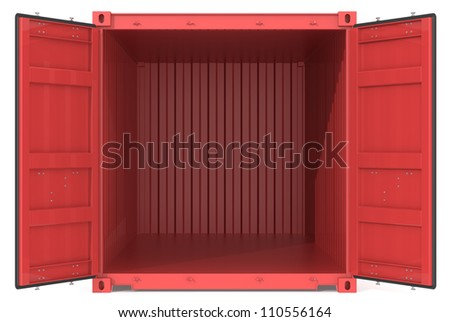 Open Container Red Cargo Container Open Doors Front view
