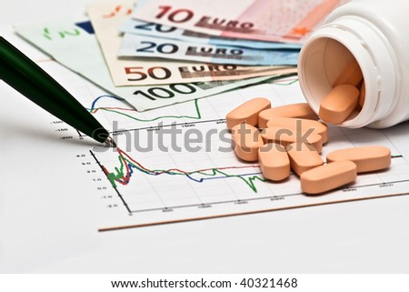 Open container with pills, money and pen on a chart - stock photo