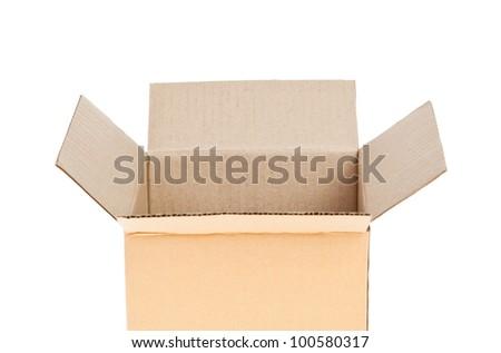 Open Corrugated cardboard box isolated on white background
