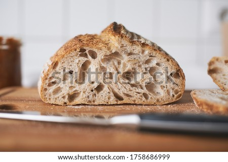 Open Crumb Sourdough Bread with Knife