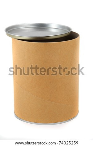 Open cylinder container isolated on white background