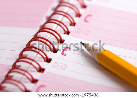 Open day planner with a pencil