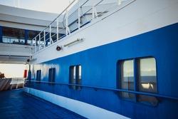 open deck corridor of a cruise ship