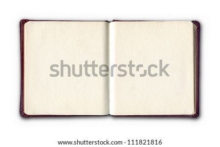 open diary or photo album book on white background