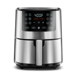 Open Digital Air Fryer Isolated. Brushed Stainless Steel Electric Deep Fryer Front View. Silver Modern Domestic Household Small Kitchen Appliances. 1500 Watts Convection Oven 4 Quart Oilless Cooker