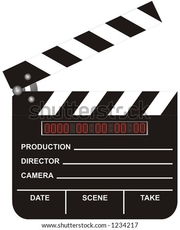 Open Digital Movie Clapboard isolated on white background (contains clipping path)