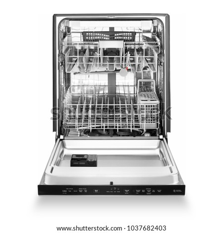 Open Dishwasher Isolated on White Background. Front View of Built-In Dishwasher Machine. Modern Stainless Steel Open Dishwasher Range. Kitchen Appliances. Domestic Appliances. Home Appliances #1037682403