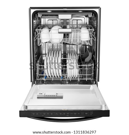 Open Dishwasher Isolated on White Background. Front View of Modern Stainless Steel Built-In Fully Integrated Top Control Dishwasher Range Machine. Household Domestic and Kitchen Appliances