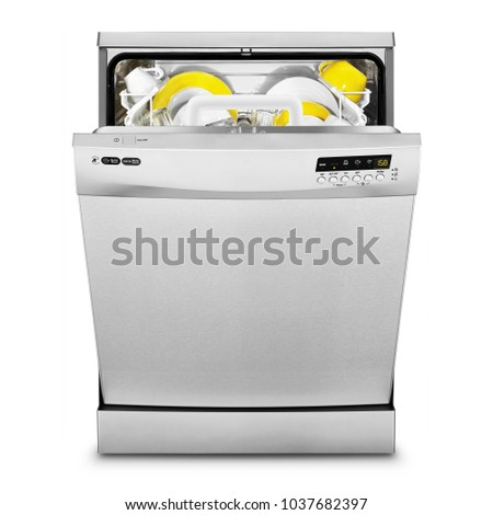 Open Dishwasher Isolated on White Background. Front View of Semi-Integrated Dishwasher Machine. Modern Stainless Steel Dishwasher Range. Kitchen Appliances. Domestic Appliances. Home Appliances #1037682397