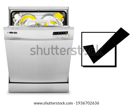 Open Dishwasher Isolated on White Background. Front View of Semi-Integrated Dishwasher Machine. Modern Stainless Steel Dishwasher Range. Kitchen Appliances. Domestic Major Appliances. Home Appliances