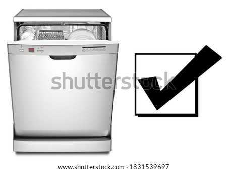 Open Dishwasher Machine Isolated on White Background. Front View of Modern Freestanding Stainless Steel Open Dishwasher Range. Domestic Appliances. Home and Major Kitchen Appliance