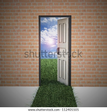 Open door from brick wall to new life . Hope, success, new life and world concepts.