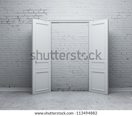 open door in a brick wall