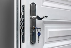 Open door of a family home. Close-up of the lock with your keys on an armored door. Security.