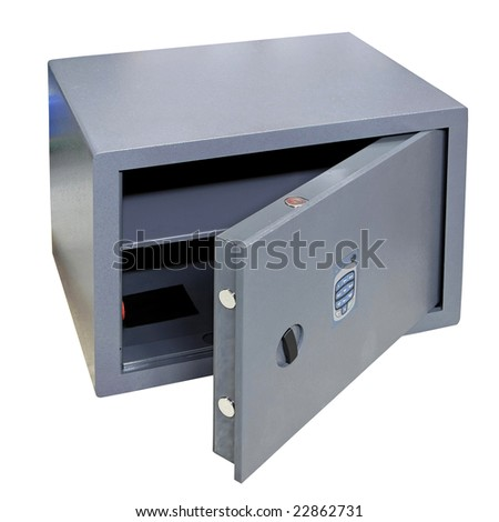 Open door of safe box isolated on white