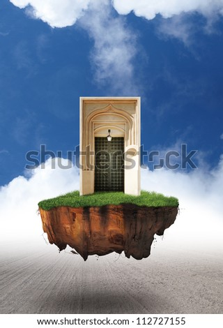 Open door to another world - portal on levitating island in the clouds - dark fantasy story