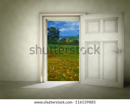open door to autumn landscape from white room illustration