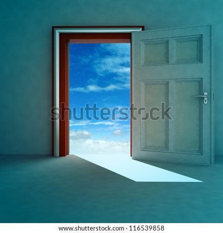 open door to heaven space with red frame and shadow render illustration