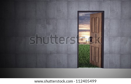 Open door to new life. Hope, success, new life and world concepts.