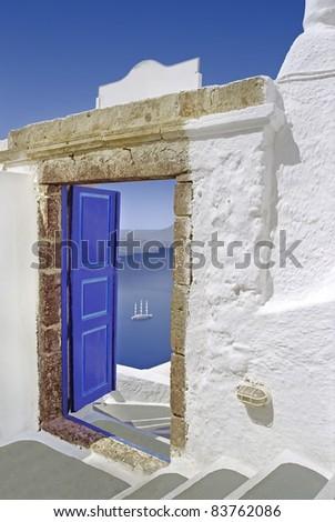Open door to the Mediterranean sea in Greece.