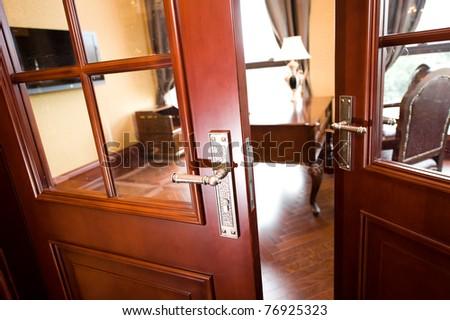 open door to the office.