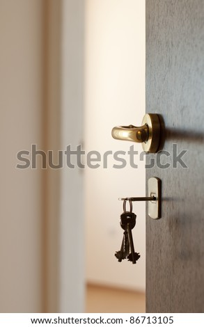 Open door with keys. Real estate
