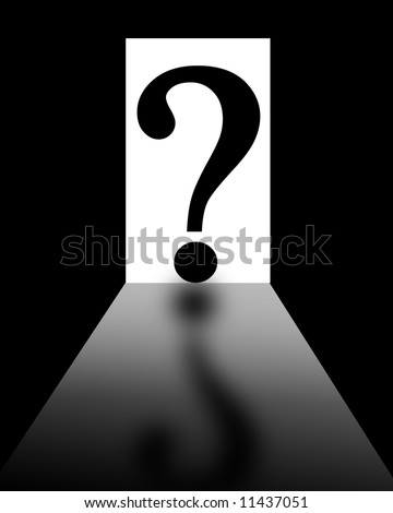 open door with question mark on a dark background