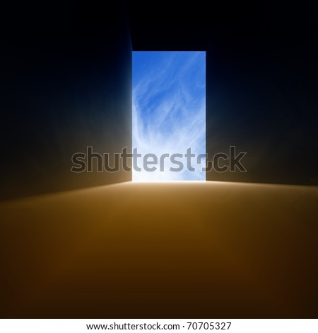 Open doorway, bright light from blue sky