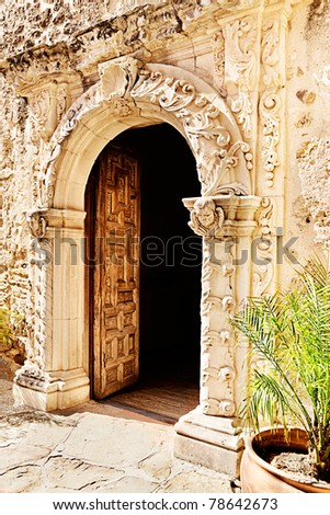 Open doorway to chapel at Mission San Jose, San Antonio